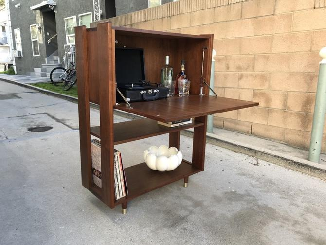 MID CENTURY MODERN Desk/Bookshelf/Bar/Stereo Stand/Album Storage by HouseCandyLA