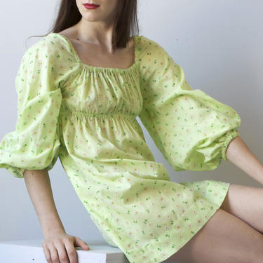 OOAK lime green babydoll 70s dress / mini floral dress / XS by EELT
