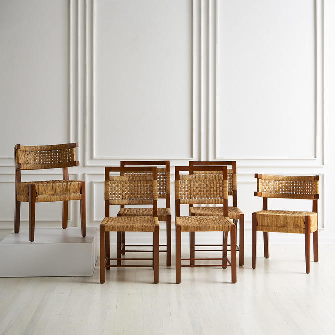 Set of Six Rush and Wood European Dining Chairs