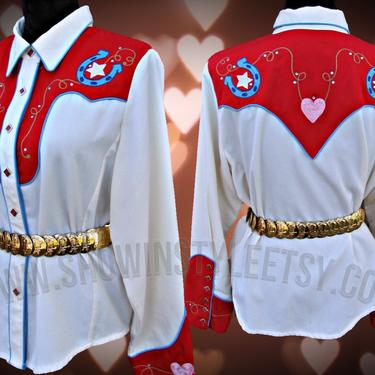 Vintage Retro Women's Cowgirl Western Shirt by Scully, Rodeo Queen, Embroidered Hearts & Horse Shoes, Size XLarge (see meas. photo) by ShowinStyle
