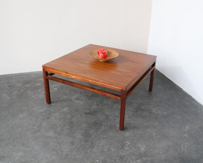 Mid Century Modern Walnut Wood Square Coffee Table Vintage by IridiumInteriors
