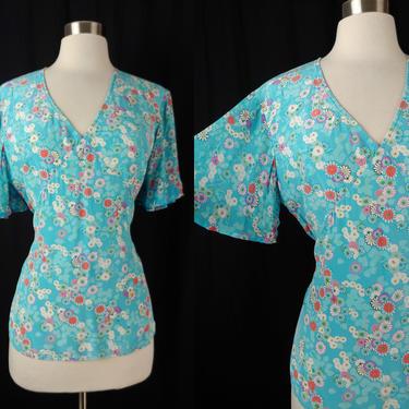 Vintage 2000 Y2K Diane von Furstenberg Medium Floral Silk Flutter Sleeve Tie Waist Blouse by JanetandJaneVintage
