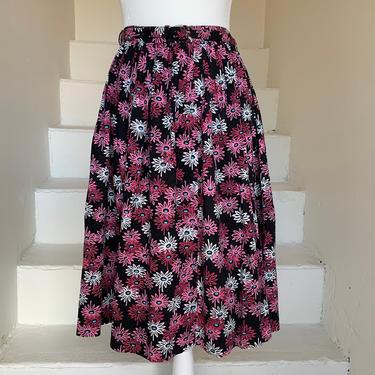 Colorful 1950s Cotton Skirt With Belt Vibrant Flowers Vintage 28 Waist by AmalgamatedShop