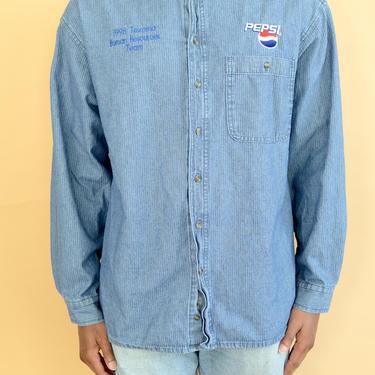 Vintage 90s Blue Denim Pepsi Coke Button Down Shirt Texamoa Texas Oklahoma HR XL Large Oversize by MAWSUPPLY