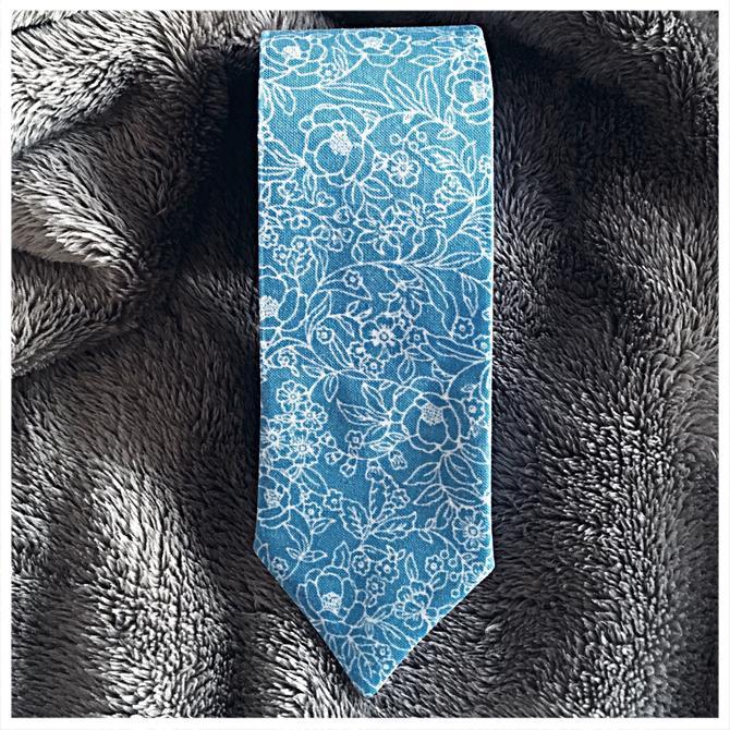 Blue Floral Skinny Tie by foxglovebags