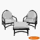 Pair of Ficks Reed Leaf Chairs With Ottoman