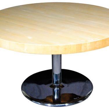Custom Made Butcher Block Dining Table on a Chrome Base