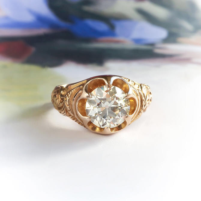 SOLD--- Final Installment Payment Due 03/11---Antique Solitaire Ring Art Nouveau 1.65ct Old European Cut Diamond Belcher Ring 14k Gold by YourJewelryFinder