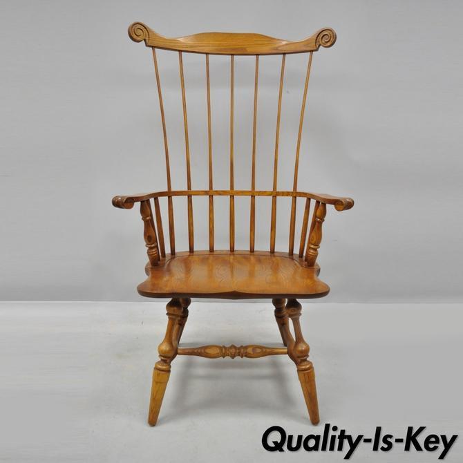 L. Hitchcock Comb Back Cherry Wood Comb Back Windsor Arm Chair