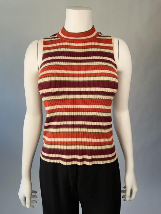 Y2K Striped Ribbed Tank