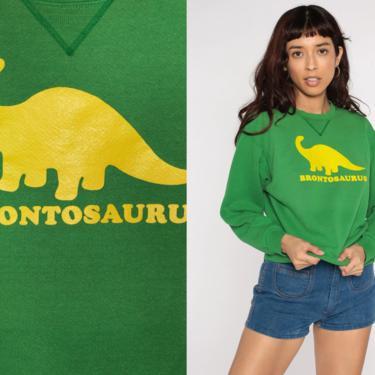Vintage Dinosaur Sweatshirt Brontosaurus Shirt 80s Dino Slouchy Graphic 1980s Women Novelty Print Green Medium by ShopExile