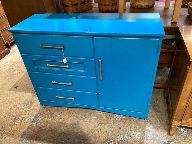 """Blue painted children's wardrobe. 44"""" x 16"""" x 35"""""""