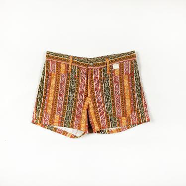 1970s Deadstock Printed Hot Shorts / Low Rise / Printed Denim / Novelty Print /  Printed Cross Stitch / Hippie / Boho / Patch Pockets / M / by shoptrashdotnet