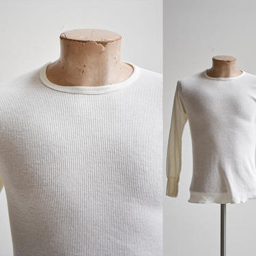 Vintage White Thermal Longsleeve Shirt by milkandice