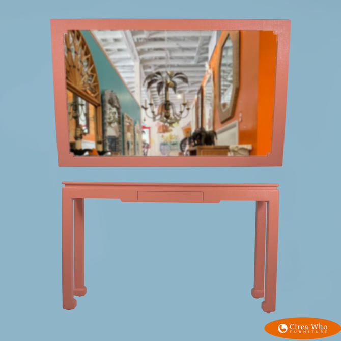 Orange Line Wrapped Ming Console Table and Mirror
