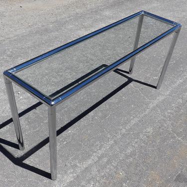 Mid Century Modern Chrome Sofa Table Low Profile Glass Narrow Top Milo Baughman For Lane Tubular Rectangle Geometric Entryway or Hallway by MakingMidCenturyMod