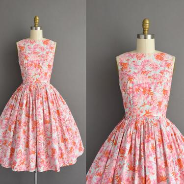 1950s vintage dress | Colorful Floral print Full Skirt Cotton Summer Dress | Small | 50s dress by simplicityisbliss
