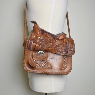Vintage 1970s Tooled Leather Horse Saddle Shoulder Bag, Vintage Saddle Purse, Boho Hippie by MobyDickVintage