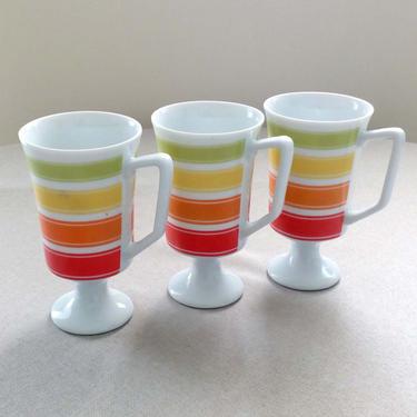 Vintage coffee mugs Set of 3 Candy Stripes by JSC Japan Ceramic Red kitchen decor Cottage core by BelleCosine
