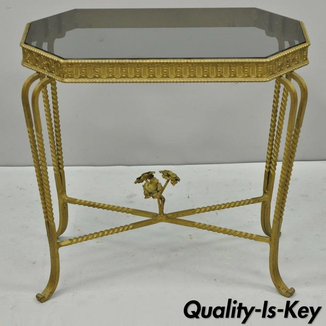 Antique French Art Nouveau Small Wrought Iron & Glass Accent Side End Table