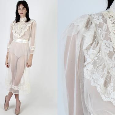 Sheer White Lace Maxi Dress / See Through Victorian High Collar Dress / Vintage 70s Floral Wedding Romantic Renaissance Prairie Mini Dress by americanarchive