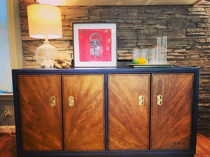 Navy blue and burl Mid Century Modern Console