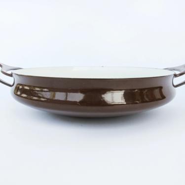 Made in Denmark -  Vintage Dansk Midcentury Brown Enamelware Pan / Paella Pan / Wok by PortlandRevibe