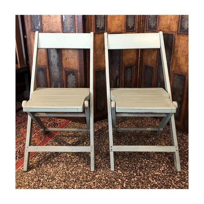 Dusty teal painted folding chairs