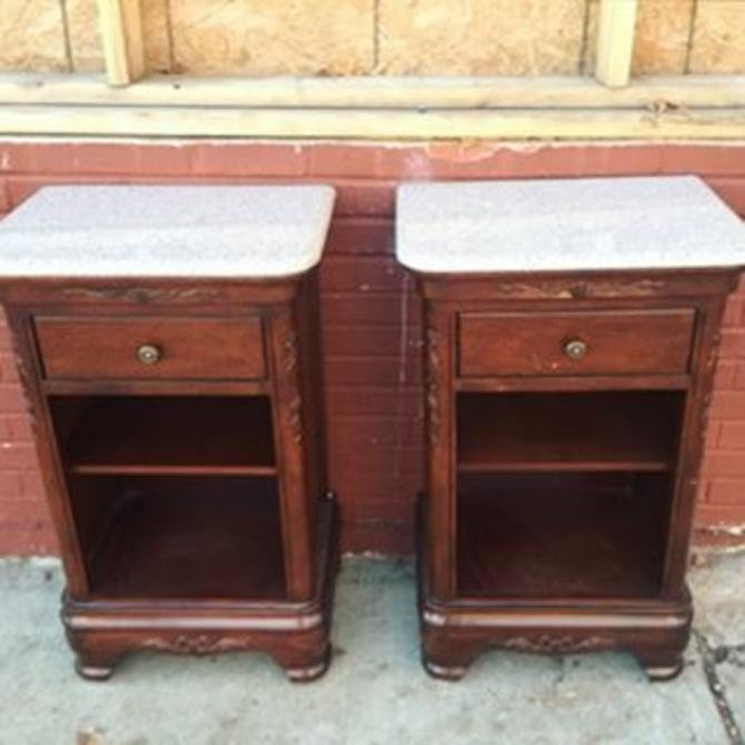 Victorian Tv Stand: Two Marble Top Victorian-style Reproduction Mahogany