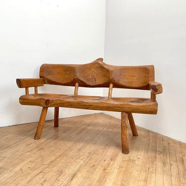 Primitive Wood Bench Ranch Hand Hewn Rustic Mexican Chunky Timber Sculptural Furniture Vintage by 330Modern