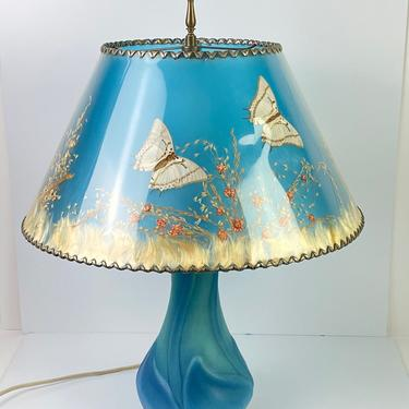 Vintage Stunning Van Briggle Pottery Table Lamp Blue w/ Original Butterfly Shade Glass Table Lamp Mid Century Modern Stripe Colors by HouseofVintageOnline