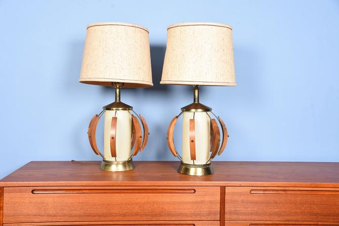 Pair of Very Mid-Century Walnut & Brass Table Lamps