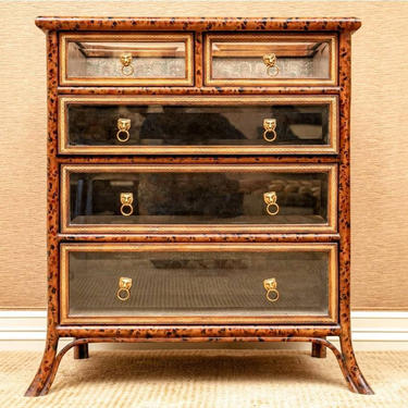 Maitland Smith Regency Style Faux Bamboo Tortoiseshell Leather Glass Chest Of Drawers Vitrine Display Commode by LynxHollowAntiques