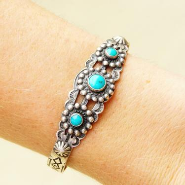 """Vintage Native American Sterling Silver 3- Stone Turquoise Cuff Bracelet, Petite Hammered Silver Cuff, Adjustable Bracelet, 5"""" L by shopGoodsVintage"""