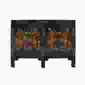Distressed Black Base Color Flower Vases Graphic Sideboard Cabinet cs5349S