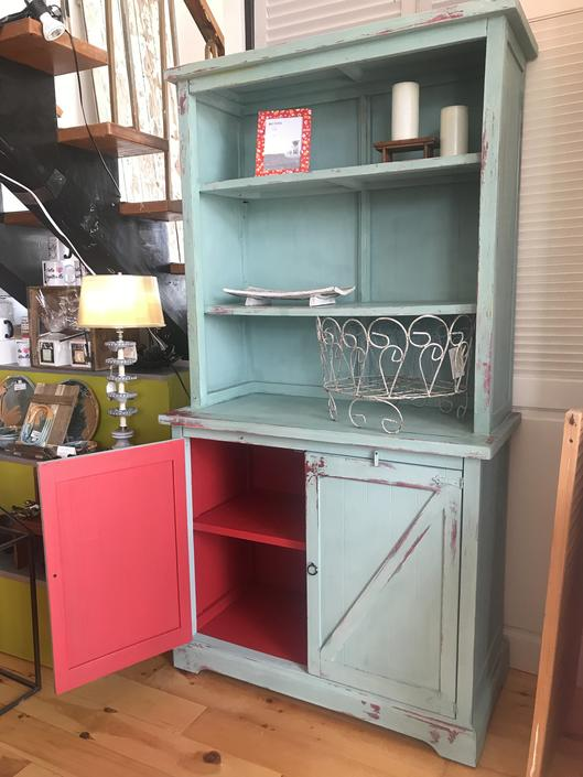 Farm Fresh Bookcase Hutch with a pop of Red