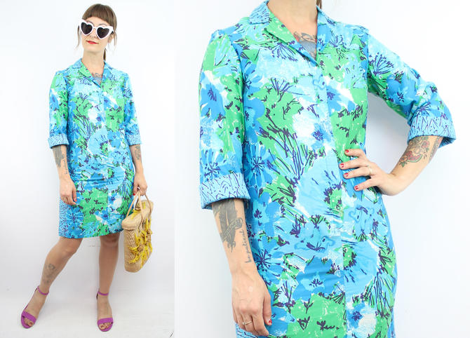 Vintage 70's VERA Blue Floral Shift Dress / 1970's Mini Shift Dress / Women's Size XXS-XS by RubyThreadsVintage