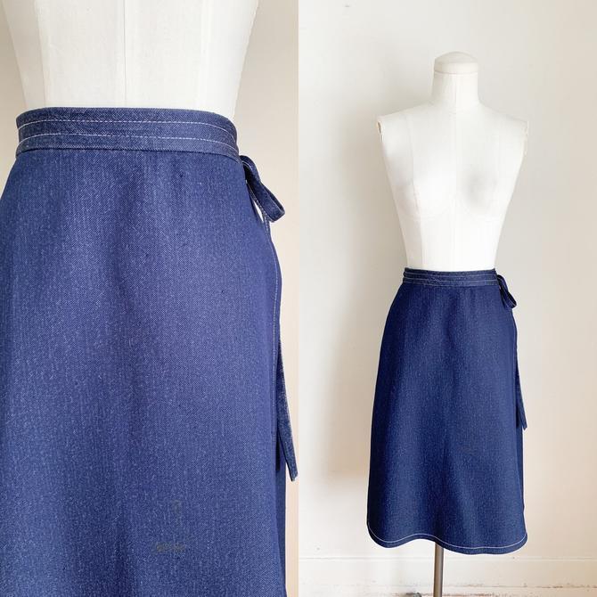 "Vintage 1980s Poly Knit Navy Wrap Skirt / 31-32"" by MsTips"