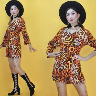 Vintage 1970s 70s Tiger Leopard Patchwork print Dress /SZ M/ 1960s 60s Mix print Corset Lace Up Dolman Sleeve MOD GoGo Mini Dress by TheeAppleBoutique