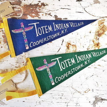 """Vintage Felt Souvenir Travel Pennant - """"Totem Indian Village"""" from Cooperstown, New York NY (Blue and Green Available) by CollectedATX"""