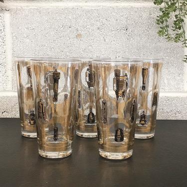 Vintage Drinking Glasses Retro 1960s Mid Century Modern + Lightbulb Pattern + Glass + Set of 5 + MCM Glassware +Kitchen and Bar Decor by RetrospectVintage215