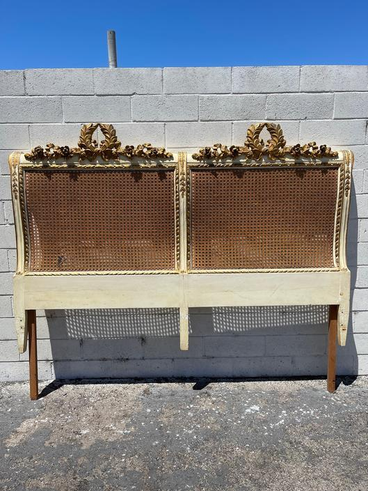 Antique Headboard French Provincial Rococo Shabby Chic Bedroom Furniture Carved Cane Neoclassical Hollywood Regency  CUSTOM PAINT AVAILABLE by DejaVuDecors