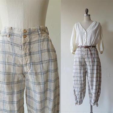 Vintage 20s Plaid Breeches/ 1920s High Waisted Button Fly Cropped Buckle Trousers/ Happy Kid/Plus Fours/ Size 28 by bottleofbread
