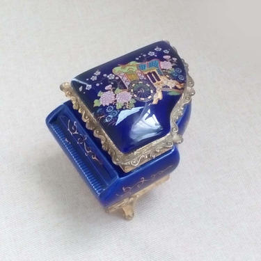 Music trinket box Cobalt porcelain piano jewelry box Vintage vanity collection by BelleCosine