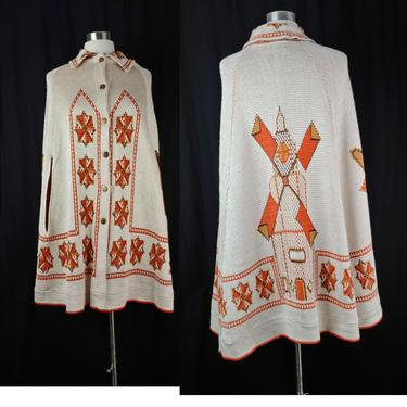 Vintage Seventies Windmill Button Front Cape - 1970s Beige Orange Acrylic Knit Boho Poncho - 70s Sweater Cape - One Size Fits Most by JanetandJaneVintage