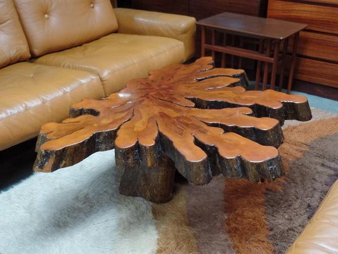 Mid Century Modern Live Edge Coffee Table From Peg Leg Vintage Of