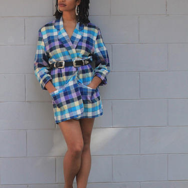 Vintage Oversize 80s Blazer Dress check print Jacket Purple Power blazer coat XS S M by Sweetiesvintage