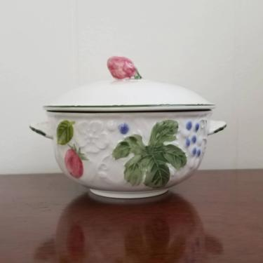 Vintage Mikasa Covered Bowl / Small Floral Jar with Lid / Country Berries Pattern / Mini Casserole Dish / Powder Jar Trinket Box Salt Cellar by SoughtClothier
