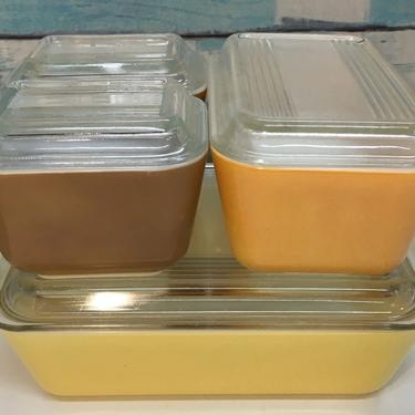 """Pyrex """"Town & Country"""" Refrigerator Dish 4pc Set w/lids by JoyfulHeartReclaimed"""