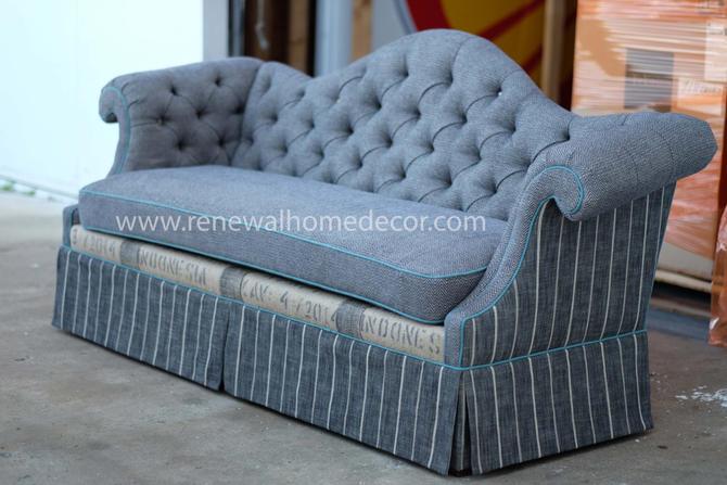 "Custom Order - Upholstered camel back button tufted sofa ""Tiffani's herringbone camel back Sofa"" - SOLD - Available for custom order by ReNewalHomeDecor"